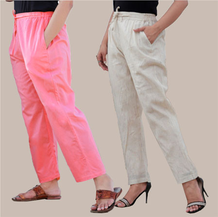 Combo of 2 Cotton Pant Pink and Beige-34996