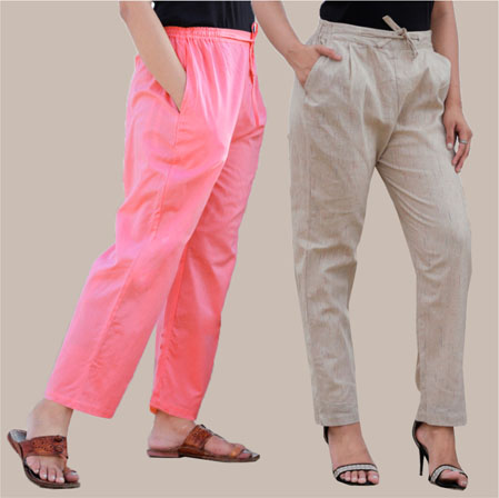 Combo of 2 Cotton Pant Pink and Beige-35006