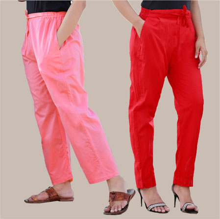 Combo of 2 Cotton Pant Pink and Red-35001