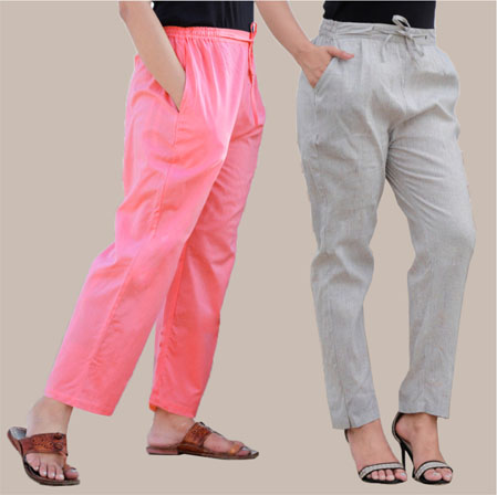 Combo of 2 Cotton Pant Pink and White-35008