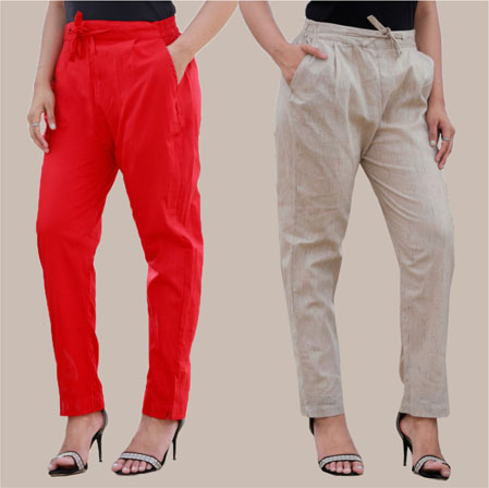 Combo of 2 Cotton Pant Red and White-35002