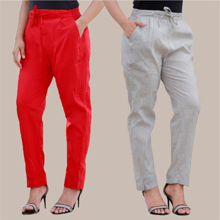 Combo of 2 Cotton Pant Red and White-35004
