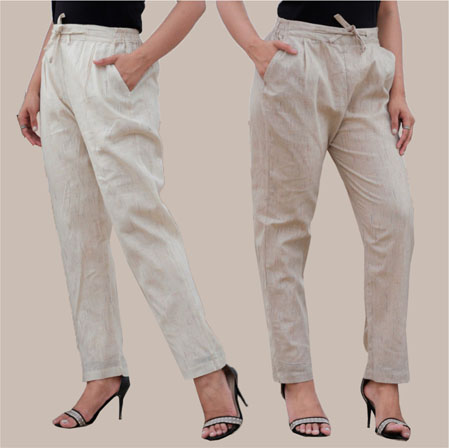 Combo of 2 Cotton Pant White and Beige-34997