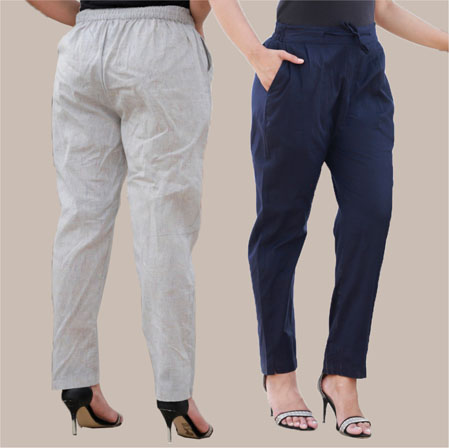 Combo of 2 Cotton Pant White and Navy Blue-35012