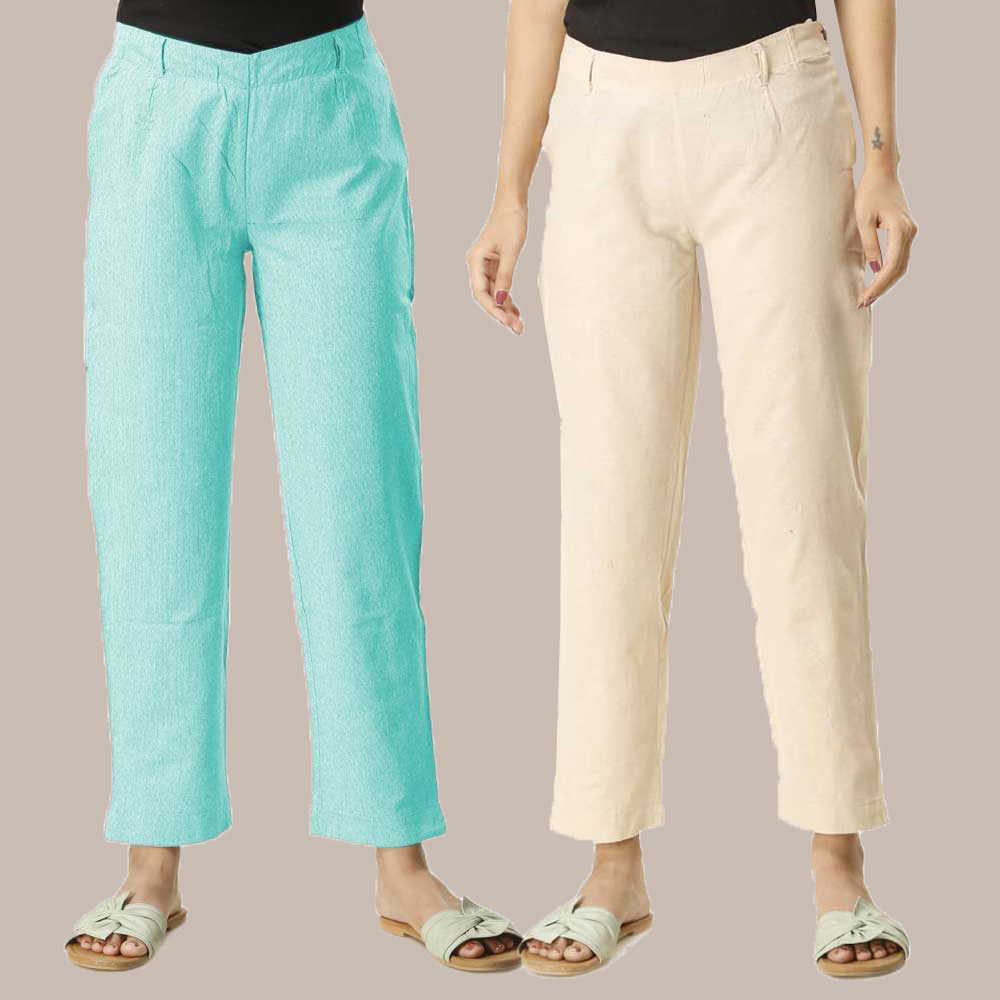 Combo of 2 Cotton Samray Ankle length Pant Cyan and Beige-35017