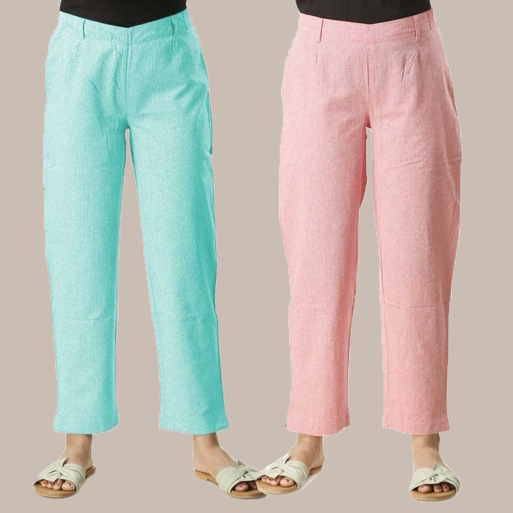 Combo of 2 Cotton Samray Ankle length Pant Cyan and Pink-35018