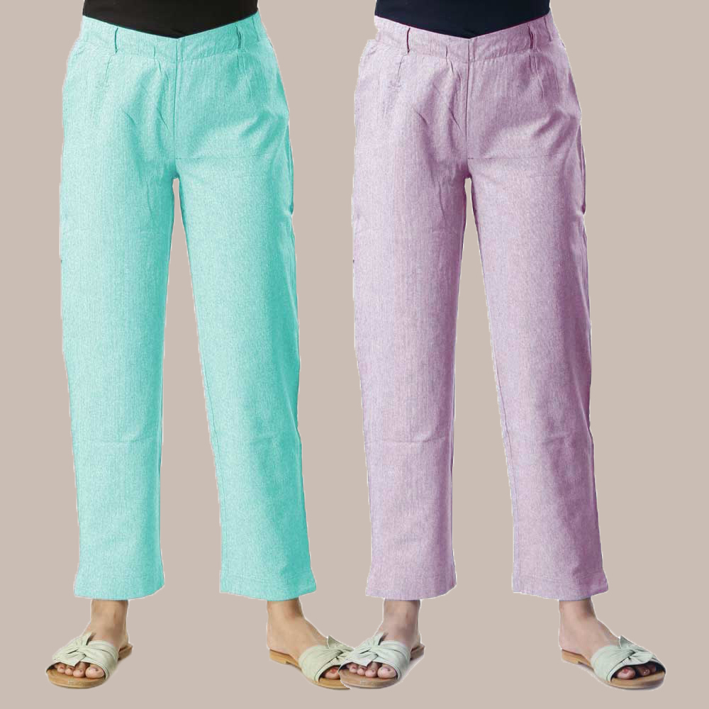 Combo of 2 Cotton Samray Ankle length Pant Cyan and Purple-35016