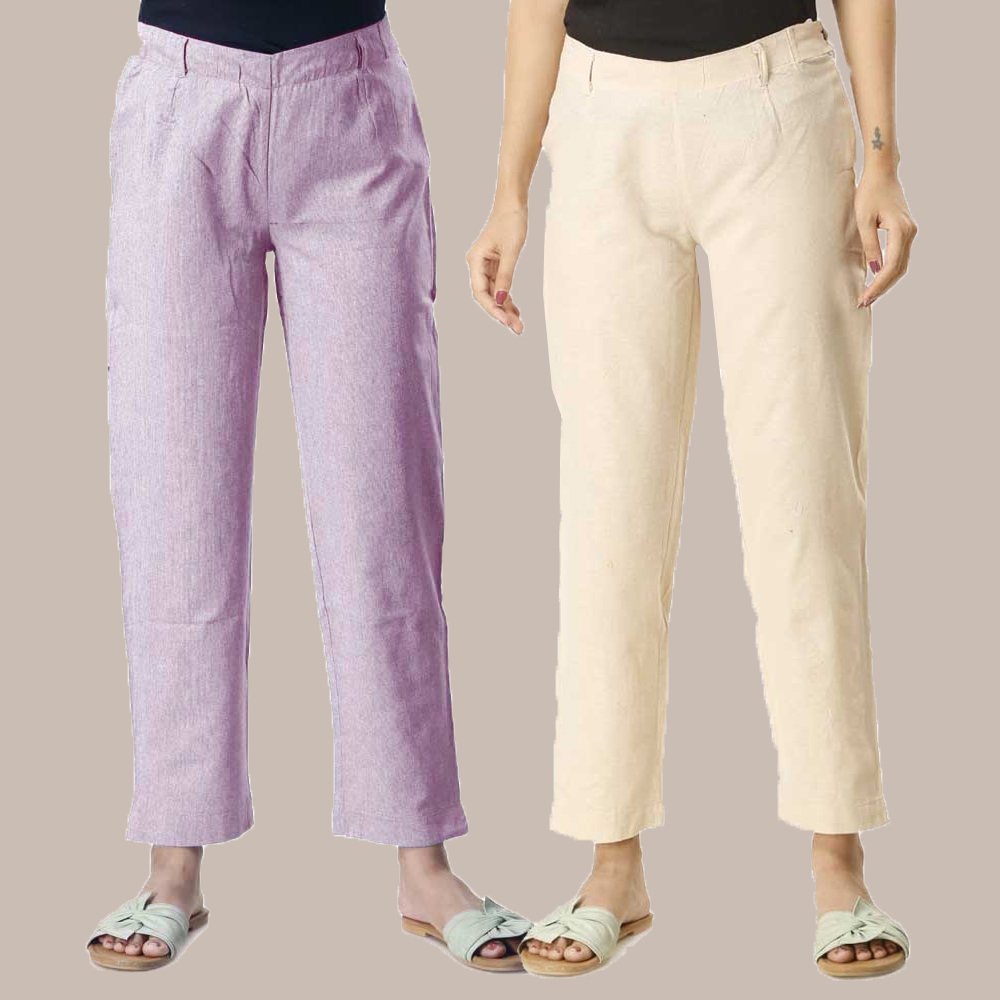 Combo of 2 Cotton Samray Ankle length Pant Purple and Beige-35020