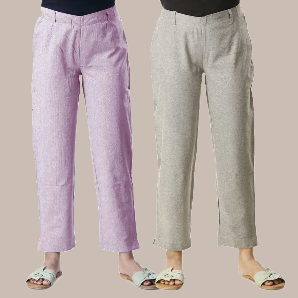 Combo of 2 Cotton Samray Ankle length Pant Purple and Gray-35022