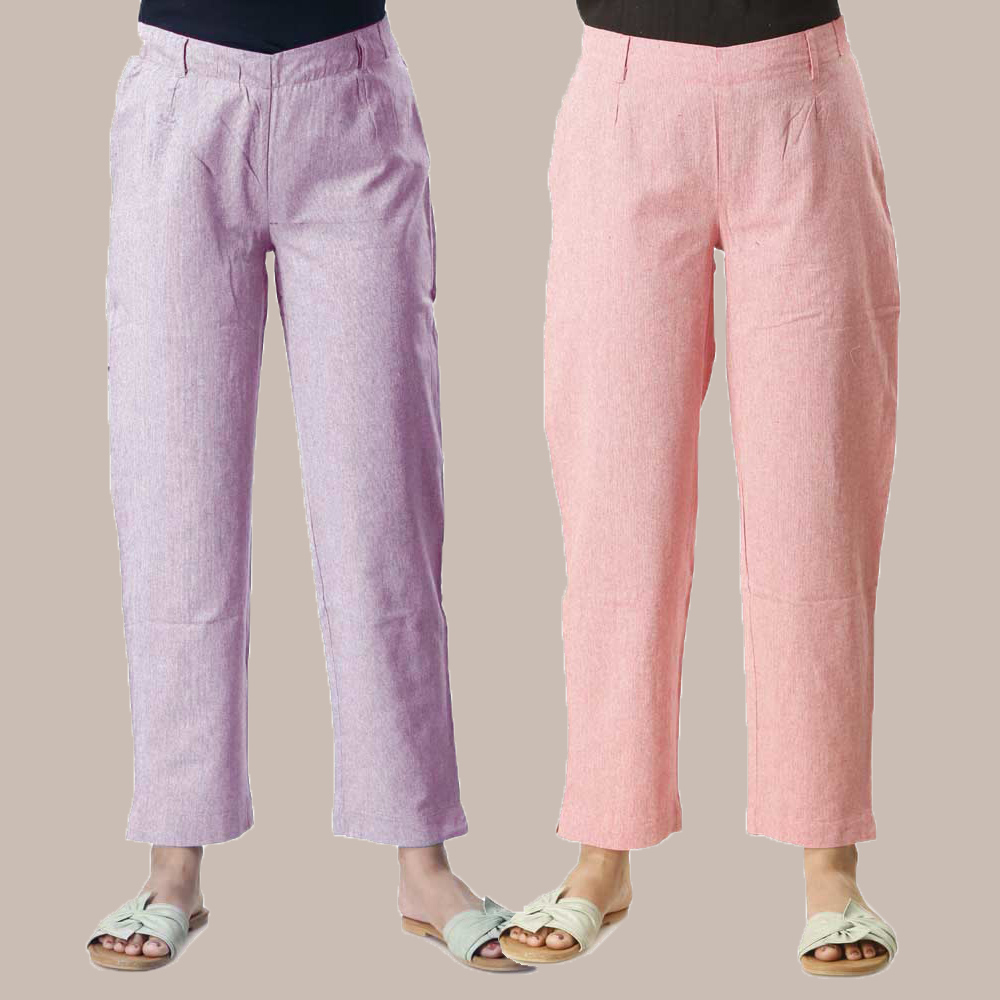 Combo of 2 Cotton Samray Ankle length Pant Purple and Pink-35021