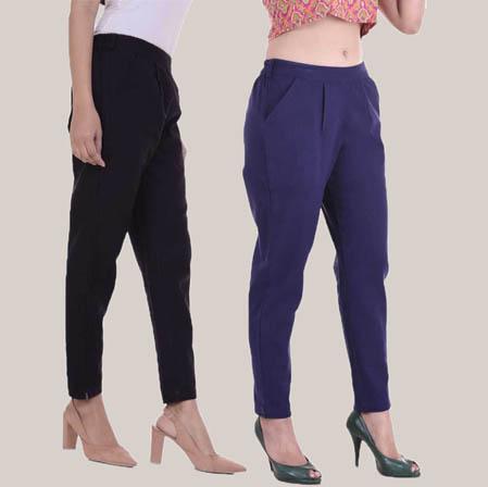 Combo of 2 Cotton Slub Ankle Length Pant Black and Blue-34601