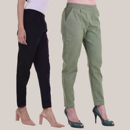 Combo of 2 Cotton Slub Ankle Length Pant Black and Olive Green-34605
