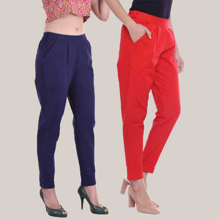 Combo of 2 Cotton Slub Ankle Length Pant Blue and Red-34606