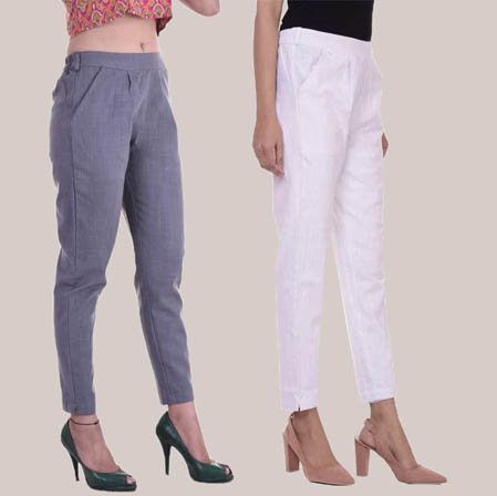Combo of 2 Cotton Slub Ankle Length Pant Gray and White-34604