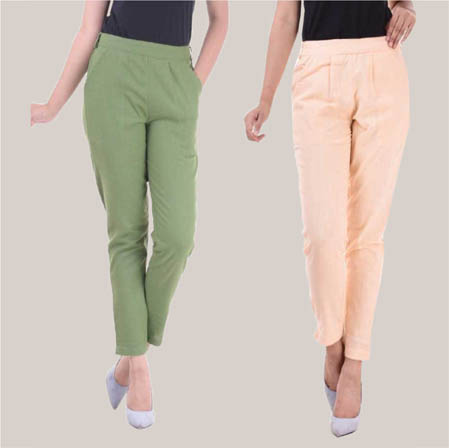 Combo of 2 Cotton Slub Ankle Length Pant Olive Green and Peach-34617