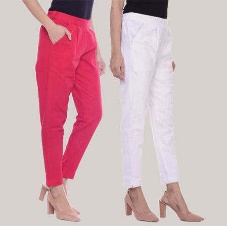 Combo of 2 Cotton Slub Ankle Length Pant Pink and White-34612