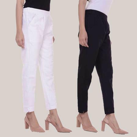 Combo of 2 Cotton Slub Ankle Length Pant White and Black-34597