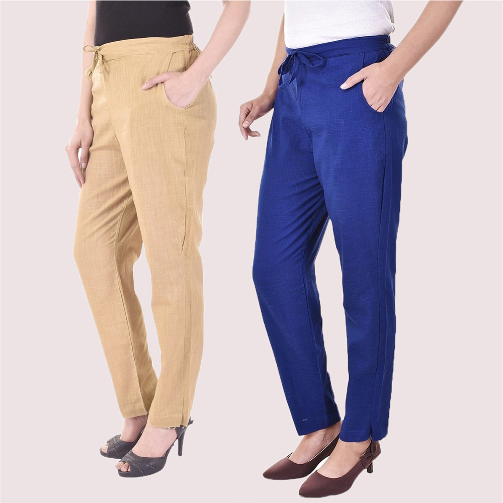 Combo of 2 Cotton Slub Solid Women Pant Beige and Blue-34420