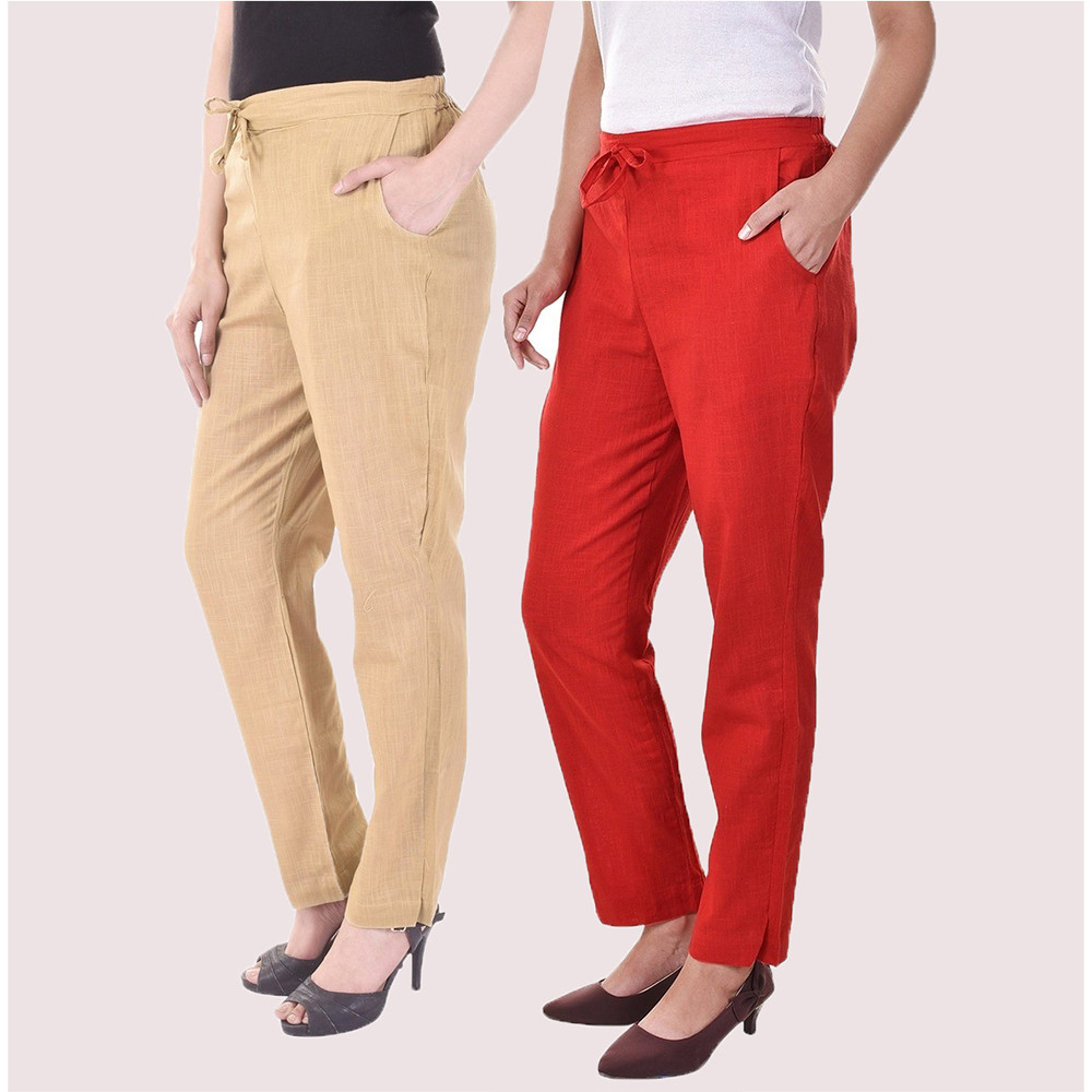 Combo of 2 Cotton Slub Solid Women Pant Beige and Red-34424