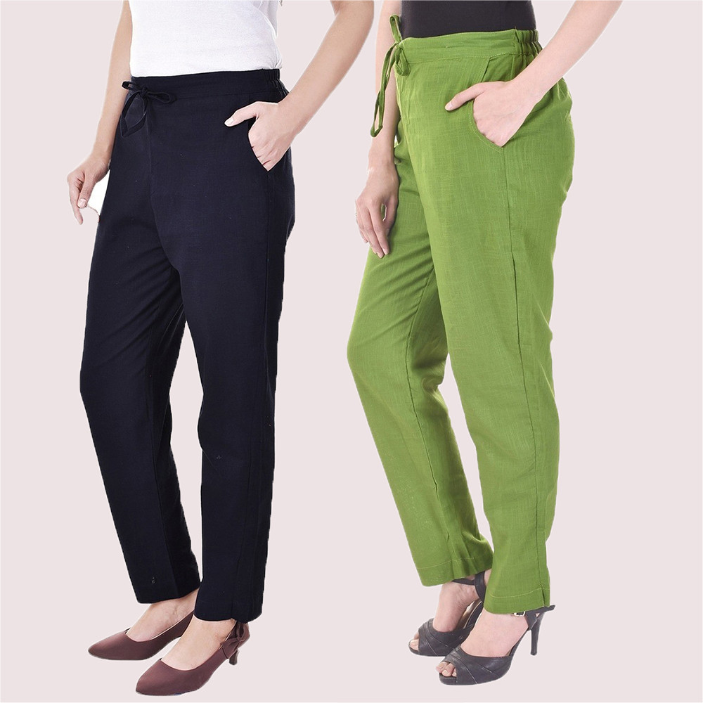 Combo of 2 Cotton Slub Solid Women Pant Blue and Green-34426