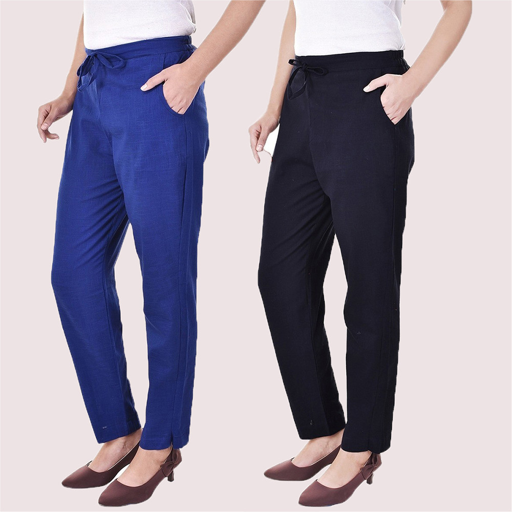 Combo of 2 Cotton Slub Solid Women Pant Blue and Navy Blue-34427