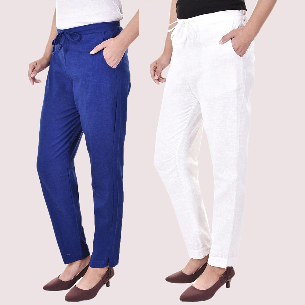 Combo of 2 Cotton Slub Solid Women Pant Blue and White-34414