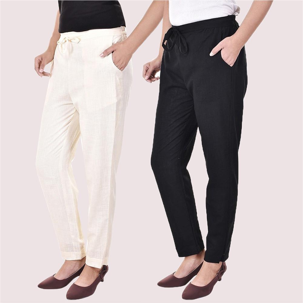 Combo of 2 Cotton Slub Solid Women Pant Cream and Black-34432