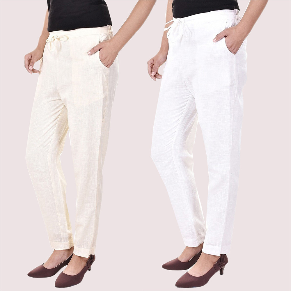 Combo of 2 Cotton Slub Solid Women Pant Cream and White-34418
