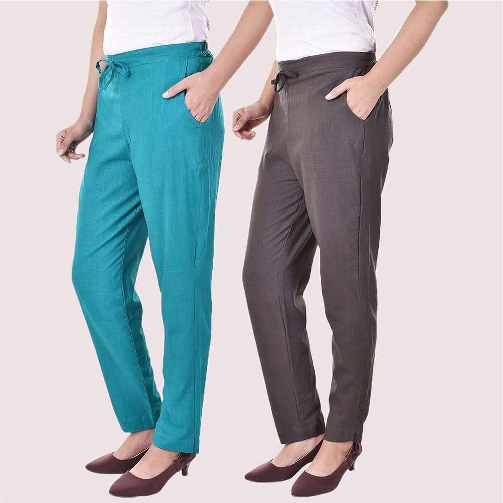 Combo of 2 Cotton Slub Solid Women Pant Cyan and Gray-34431