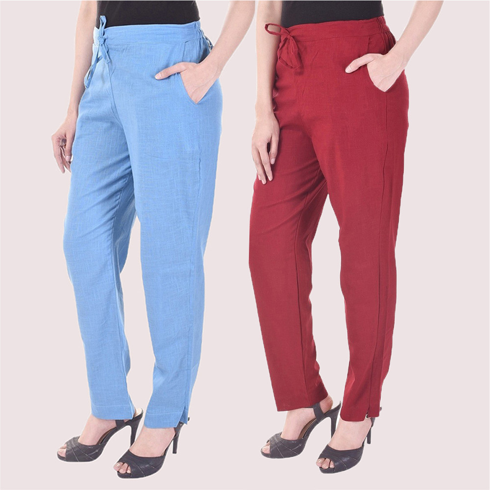 Combo of 2 Cotton Slub Solid Women Pant Cyan and Maroon-34429