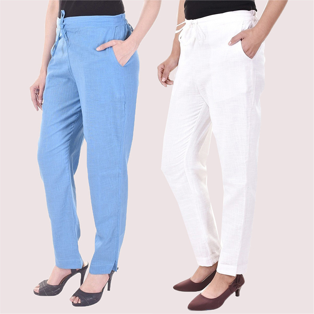 Combo of 2 Cotton Slub Solid Women Pant Cyan and White-34423