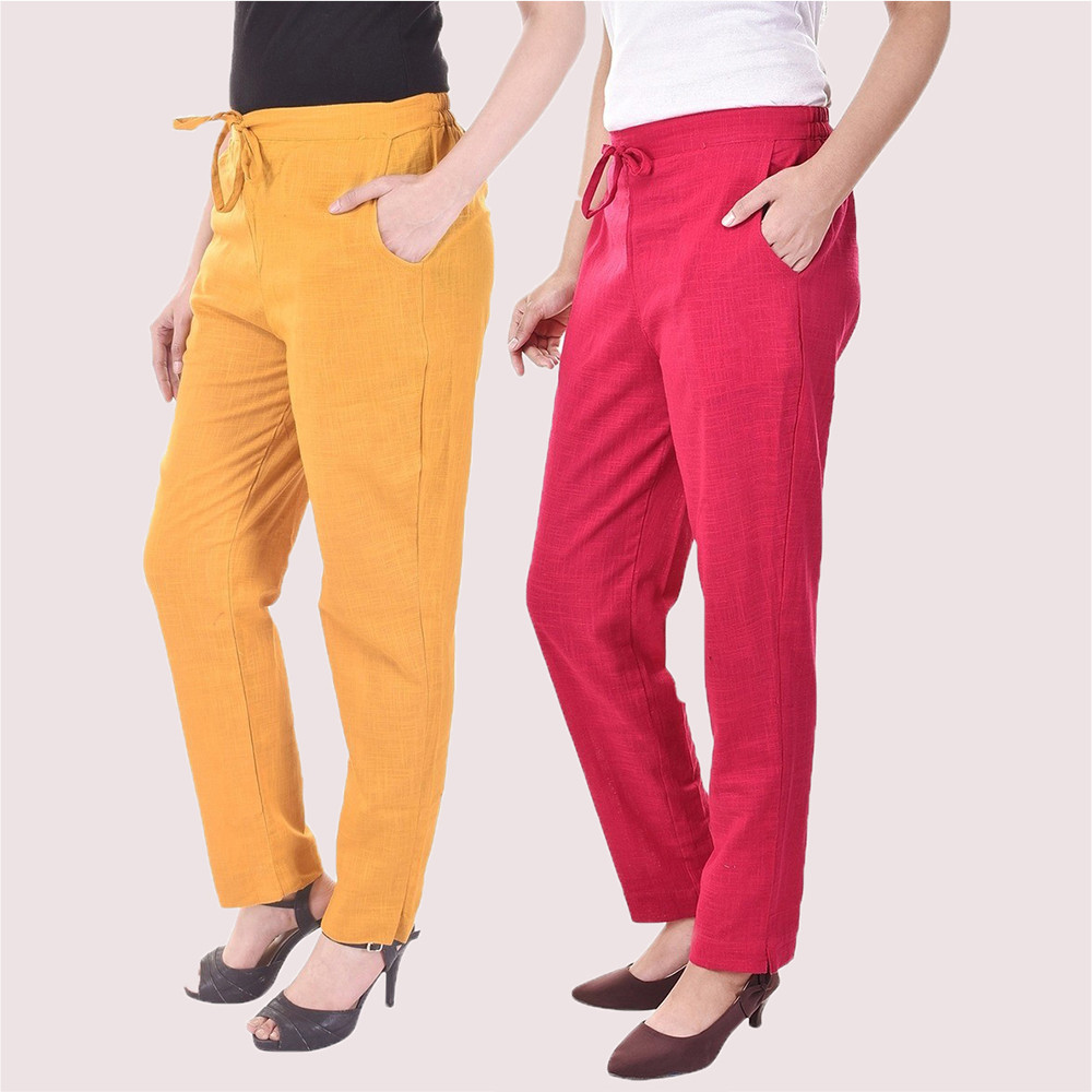 Combo of 2 Cotton Slub Solid Women Pant Mustard and Pink-34430