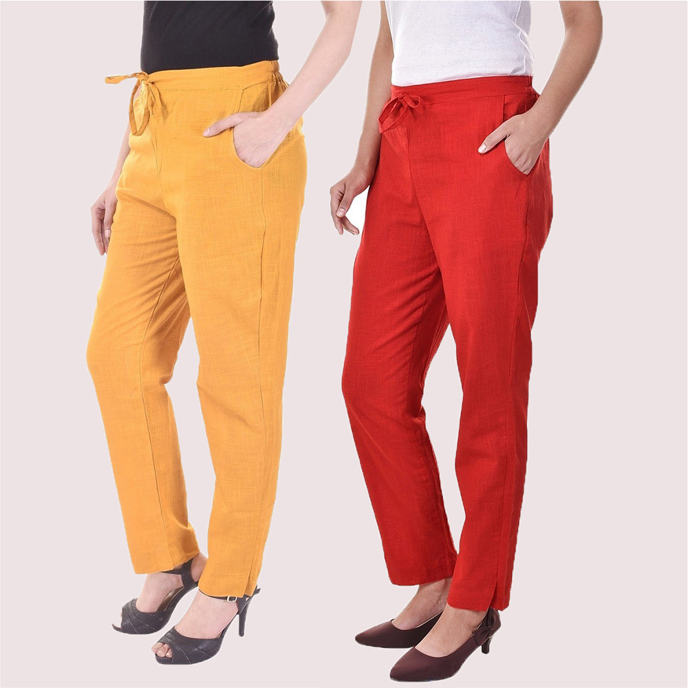 Combo of 2 Cotton Slub Solid Women Pant Mustard and Red-34421