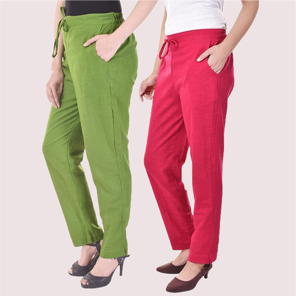 Combo of 2 Cotton Slub Solid Women Pant Olive Green and Pink-34425