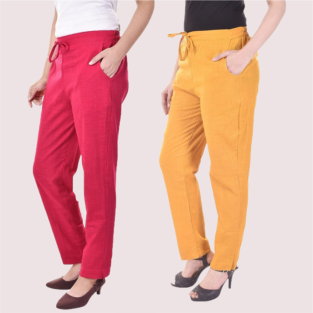 Combo of 2 Cotton Slub Solid Women Pant Pink and Mustard Yellow-34416