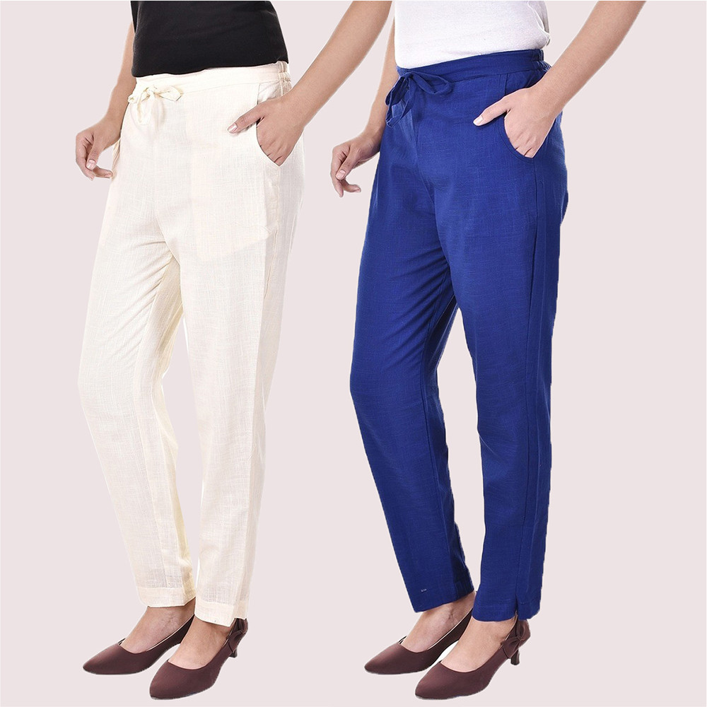 Combo of 2 Cotton Slub Solid Women Pant White and Blue-34433