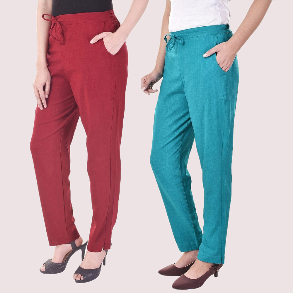 Combo of 2 Cotton Slub Solid Women Pant Wine and Cyan-34419