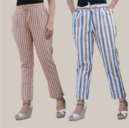 Combo of 2 Cotton Stripe Pant with Belt Beige and White-35177