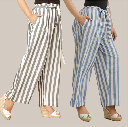 Combo of 2 Cotton Stripe Pant with Belt Black and Blue-35158