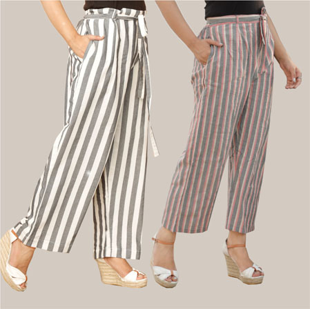 Combo of 2 Cotton Stripe Pant with Belt Black and Pink-35156