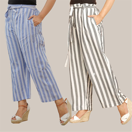 Combo of 2 Cotton Stripe Pant with Belt Blue and Black-35151