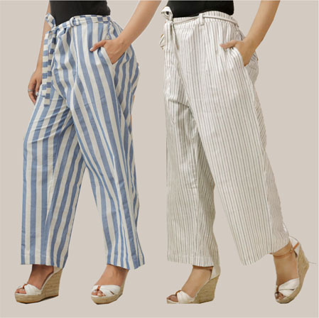 Combo of 2 Cotton Stripe Pant with Belt Blue and Black-35161