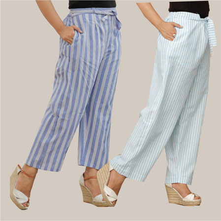 Combo of 2 Cotton Stripe Pant with Belt Blue and Cyan-35145