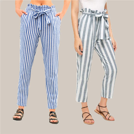 Combo of 2 Cotton Stripe Pant with Belt Blue and Gray-35188