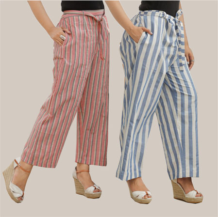 Combo of 2 Cotton Stripe Pant with Belt Blue and Pink-35126