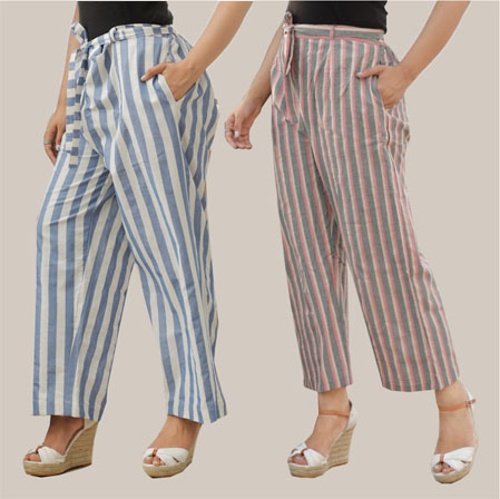 Combo of 2 Cotton Stripe Pant with Belt Blue and Pink-35163