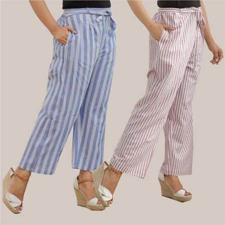 Combo of 2 Cotton Stripe Pant with Belt Blue and Purple-35147