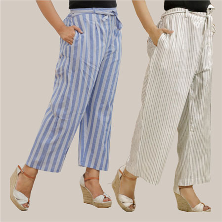 Combo of 2 Cotton Stripe Pant with Belt Blue and White-35149