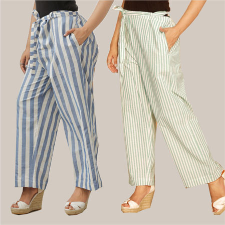 Combo of 2 Cotton Stripe Pant with Belt Blue and White-35159