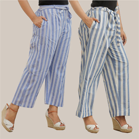 Combo of 2 Cotton Stripe Pant with Belt Blue and White-35162